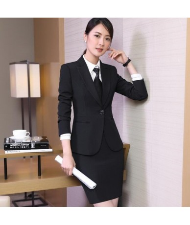Spring new business wear women skirt suits temperament slim long sleeve blazer with skirt office ladies plus size uniforms -...