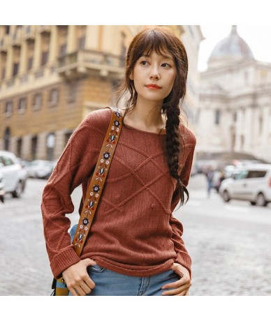 2019 Spring Autumn Women Female Girl Basic Knitwear Fashion Off Shoulder Style Lady Ladies Causal Pullover Knitted Sweater -...