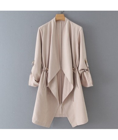 Draping Casual Blazers Women Fashion Medium Jackets Women Elegant Open Stitch Suits Female Ladies HB - XWBZ690 Beige - 55111...