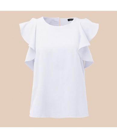 2019 Summer Women Ruffles Blouses Shirts Casual Loose Round Neck Short Sleeve Elegant Solid Shirt Plus Size Top Blusa 5XL - ...