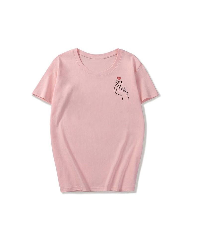 Summer Women Tops Korean Style Kpop Finger Heart Print O-neck Short Sleeve Ulzzang Tees Harajuku Fashion T Shirt Couple Clot...