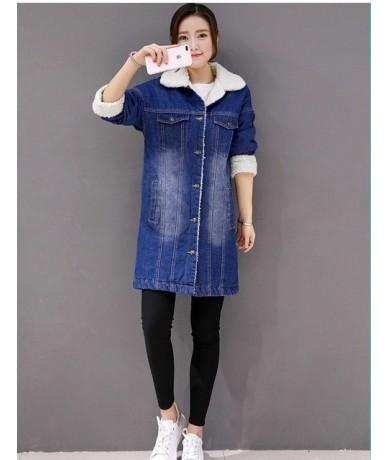 Large size 4XL Winter Denim Cotton Jacket Women Coats Casual Loose Lamb wool Jeans Outwears Warm Thick Denim Windbreaker Coa...