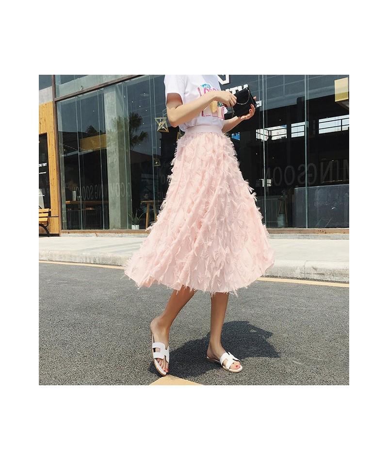 2018 New Spring Summer Bubble Tulle Tassel Skirt Women Tulle Skirts Female Tutu Skirts Pleated Feather Applique Skirt - Pink...