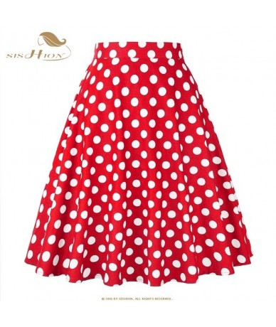 Cotton Polka Dot Skirts 2019 High Waist Women Cotton Red with White Dots Swing Retro Swing Vintage Midi Skirts VD0020 - Red ...