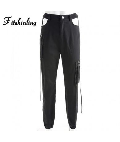 Athleisure streetwear women pants sashes belt black women's trousers fashion winter letter patchwok jogger female - black - ...