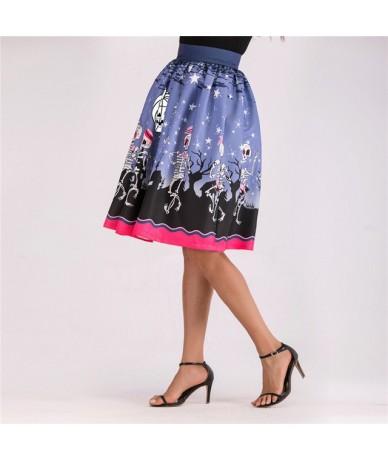 2019 Summer Gothic Style Women Midi Skater Skirts Halloween Pattern Pleated Print Mid-Calf Female Skirt Jupe Femme S1914 - B...