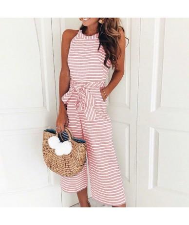 Women Elegant Streetwear Casual Jumpsuit Female 2018 Summer Sleeveless Striped Belt Waist Loose Wide Leg Pants Jumpsuits - p...