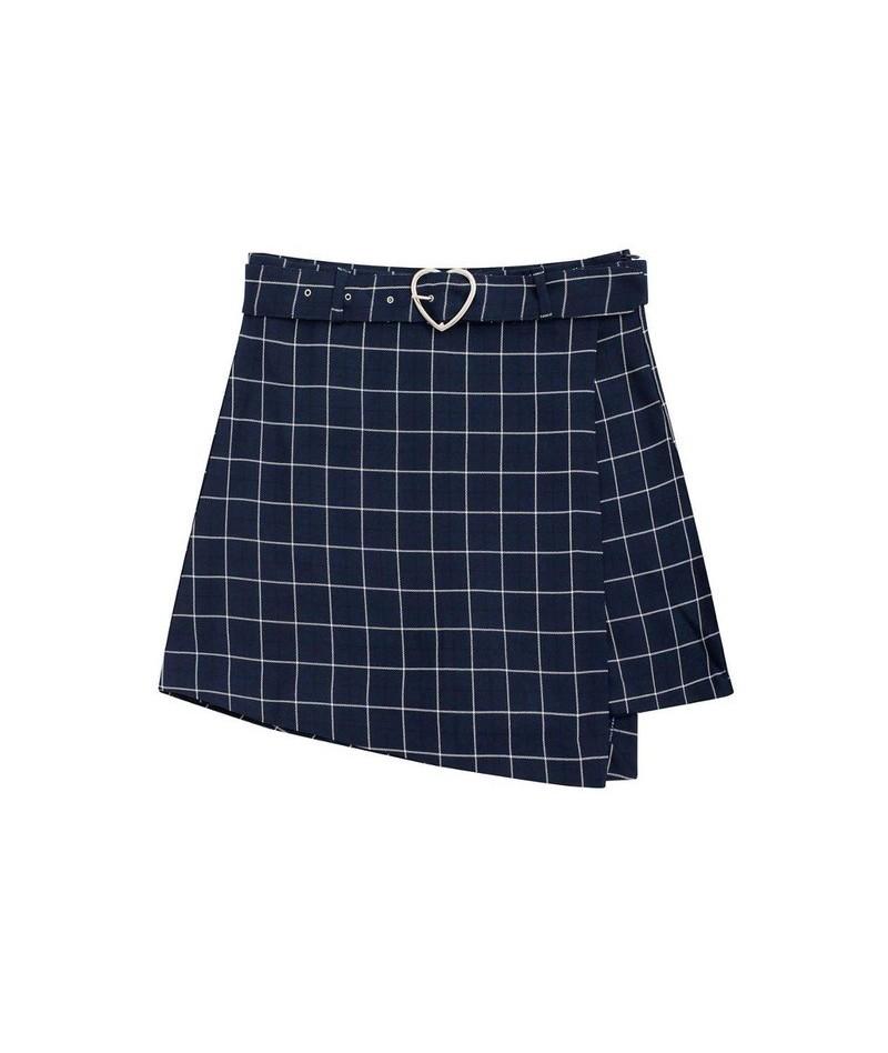 Summer New Design High Waist Sweet Sashes Skirts Women Skirt Shorts Slim Korean fashion Zipper Plaid Pink Blue Preppy Style ...