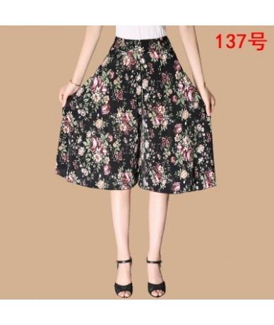 Summer Women Casual Loose Chiffon Elastic Waist Wide Leg Knee Length Skirt Pants Female Lady High Waist Middle Age Mother Pa...