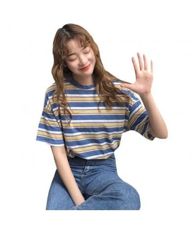Korean O-neck T Shirt Women Harajuku Striped Tshirt Tops 2019 Summer Loose Casual Short Sleeve Punk T-shirts camiseta femini...