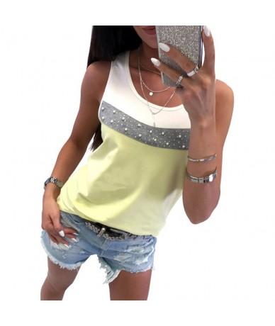 Women Casual Matching Color Sleeveless Beading Splice Tank Crop Shirt Blouse Top Vest Womens Tops And Blouses - YELLOW - 4F3...