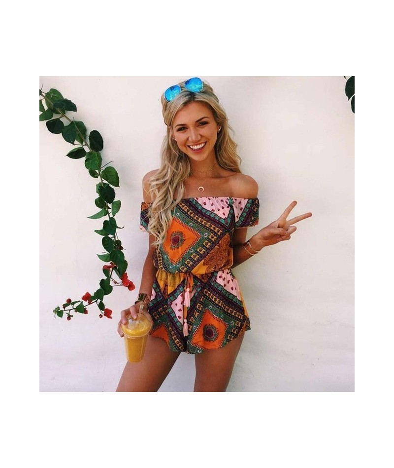 Summer 2018 Women Floral Print Playsuit Strap Loose Rompers Ruffles Off Shoulder Sleeveless Jumpsuit Backless Sexy Overall -...