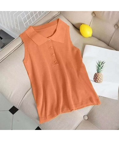 Women Lady Female Tops Lapel Sleeveless Slim Knit Tank Top T-Shirt Summer Beach Vest Summer Breathable Clothes Tank Tops - a...