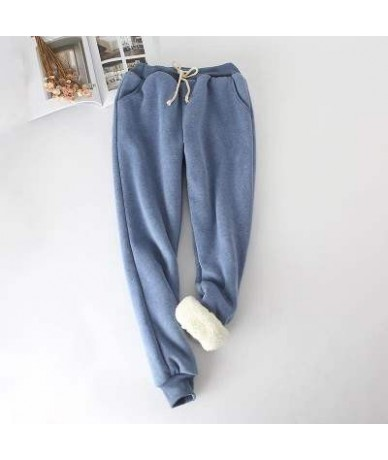 Winter Lambskin Thicker Elastic Waist Pants Loose Large Size Solid Color Cotton Harem Pants Women Casual Warm Trousers - Blu...