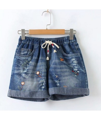 Summer New Elastic Lace Embroidered Lace Denim Jeans Shorts Female Casual - Blue - 4J3927537688