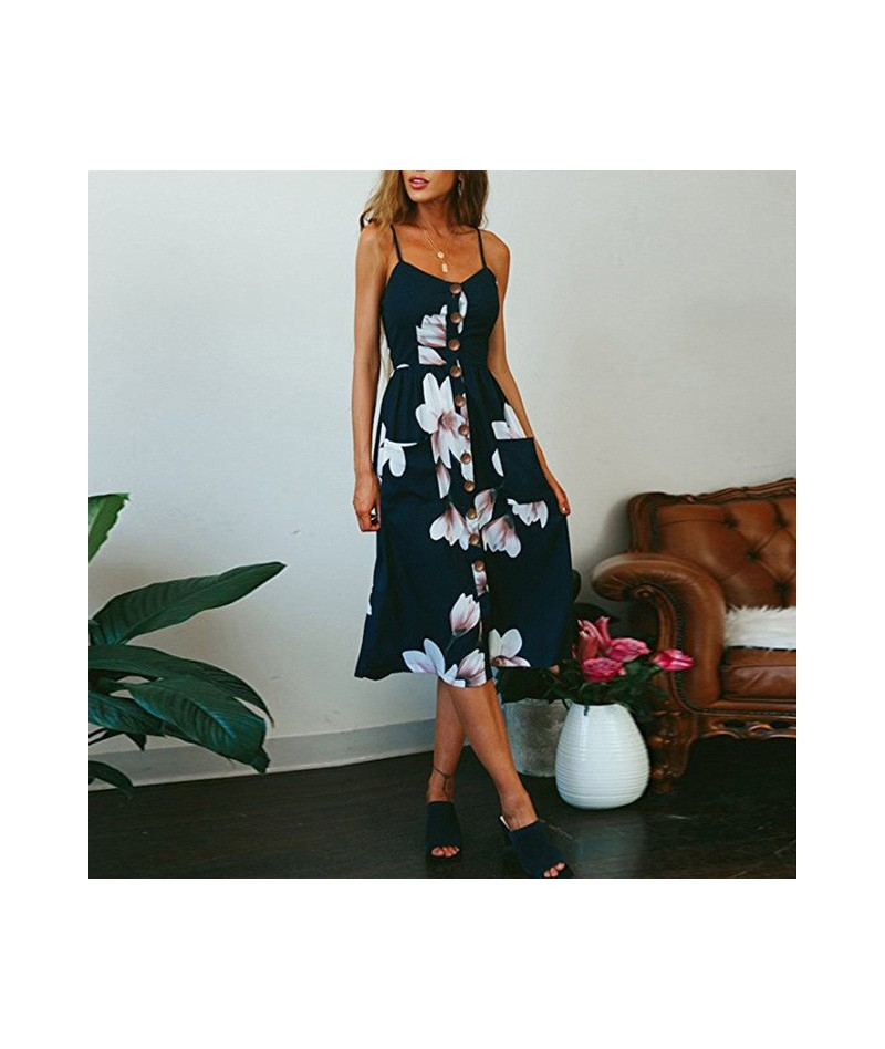 Women Sundress Spaghetti Strap Dress Sexy Low Cut Floral Print Strapless Sleeveless Loose Ladies Charming Travel Outwear - 0...