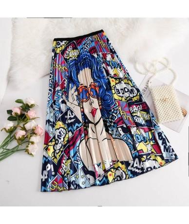 2019 Summer Women Midi Skirts Bottom Korean Fashion Ladies Cartoon Printed High Waist A-Line Pleated Skirt For Women Female ...
