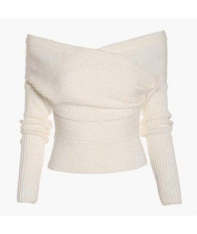 2018 NEW Autumn Winter sweaters Off Shoulder sexy women ladies long sleeve Slim knitted Pullover Top Elegant Knitwear Top Fe...