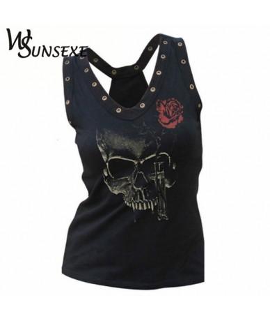 Hollow Out Women Skull Head 3d Printed T Shirts Blusa Hip Hop Summer V-neck Tee Shirt Femme Punk Style Hole Tops Cheap Cloth...