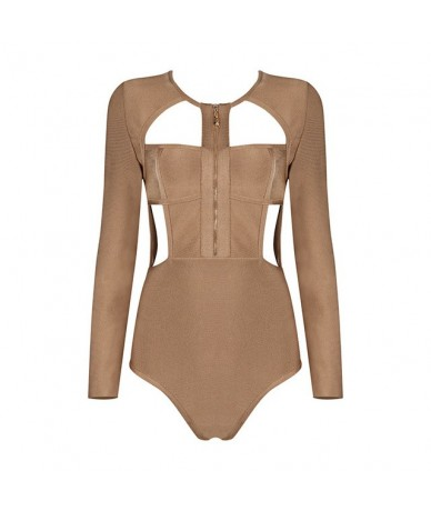 2019 New Fashion Long Sleeve Zipper Cut Out Strap Sexy Bodysuit Hollow Out - army green - 4C3913149681-2
