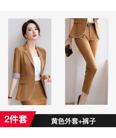 Womens British Style Professional Suit Korean Slim Fit Half Sleeve jacket Skirt 2pcs Fashion Suit Set V5 - Khaki coat pants ...