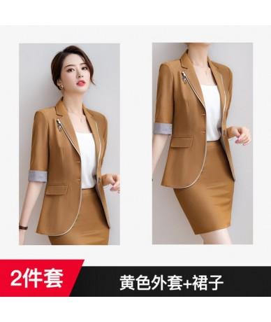 Womens British Style Professional Suit Korean Slim Fit Half Sleeve jacket  Skirt 2pcs Fashion Suit Set V5 - Khaki coat pants - 4F4140037289 Size S