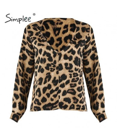V neck sexy leopard print womens tops and blouses Long sleeve chiffon blouse shirt Vintage office ladies fashion blusas - Le...