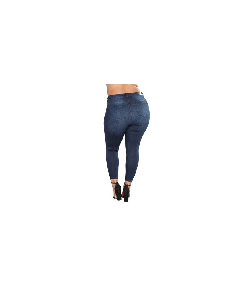 High Waist Slim Pencil Trousers blue summer hole ripped jeans women pants stretch jeans high waist women plus size jeans 201...