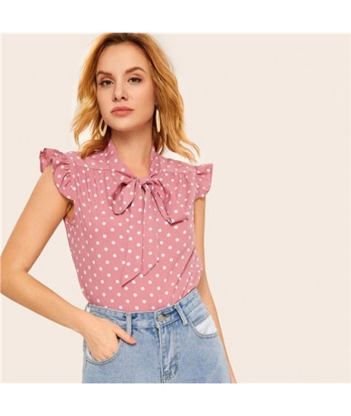 Pink Ruffle Tie Neck Polka Dot Womens Tops And Blouses 2019 Summer Cute Cap Sleeve Clothes Spring Ladies Young Tops - Pink -...