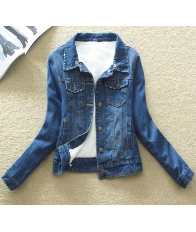 2019 Spring Autumn Winter Women Lambswool Coat Outerwear Slim Short Warm Jeans Coat Women Denim Jacket Fur Plus Size 3XL 4XL...