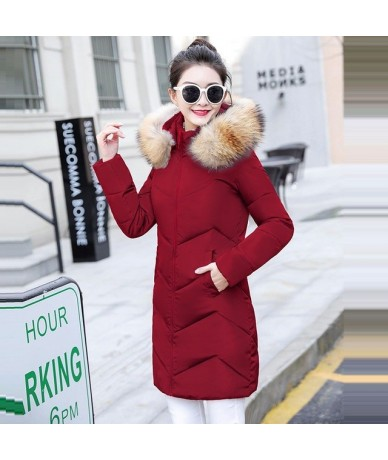 Winter Jacket Women Parkas for Coat Fashion Down Jacket Female With a Hood Large Faux Fur Collar Coat 2019 Winter Outwear La...