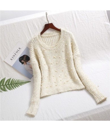 Pearls beading Sweater Women 2019 Autumn Winter Shiny Lurex Knitted Women Pullovers Casual Thicken Warm Pull Femme - beige -...