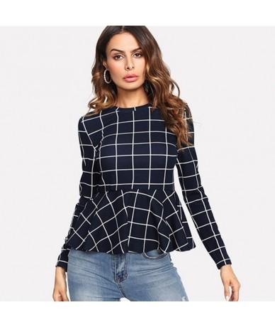 Plaid Peplum Ruffle Office Ladies Work Elegant Blouse Grid Long Sleeve Fall Top Women 2018 Elegant Blouse Shirt - Blue - 4F3...