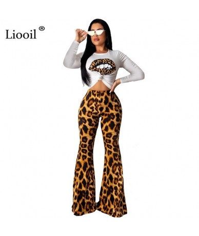 Two Piece Set Women Sexy Club Outfits Fall 2019 Long Sleeve Lip Print T Shirt Leopard Wide Leg Pants Party Matching Sets - B...