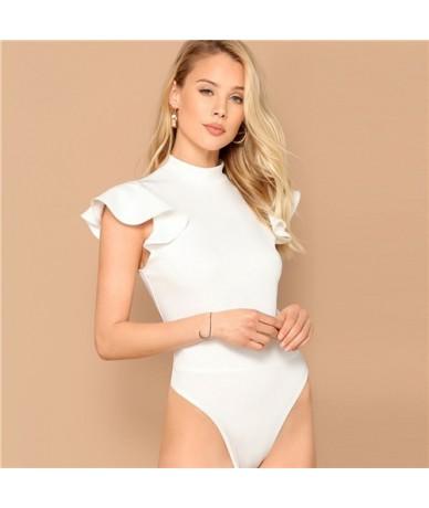 Elegant White Mock Neck Ruffle Armhole Slim Fitted Skinny Bodysuit Women Summer Butterfly Sleeve Office Lady Bodysuits - Whi...