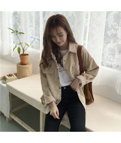 Corduroy Shirt Coat Women Fashion Long Sleeve Preppy Wide Waist Turn Down Collar Crop Jacket Women Harajuku Casual Pocket Ja...
