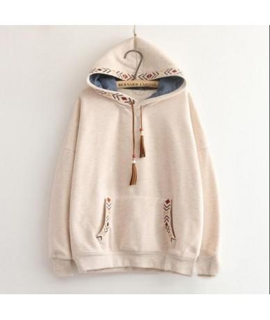 2 colors-- Arrow embroidery tassel hooded thickening sweatshirt mori girl vintage pullover - dark blue - 4J3856708503-1