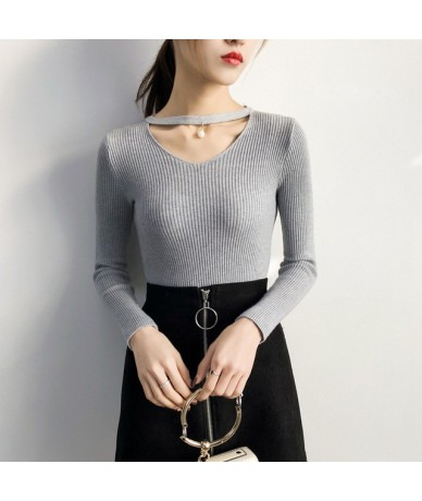 V Neck White Sweaters Women 2019 Autumn Winter New Long Sleeve Sexy Slim Tops Solid Streetwear knitted korean pullover - Gra...