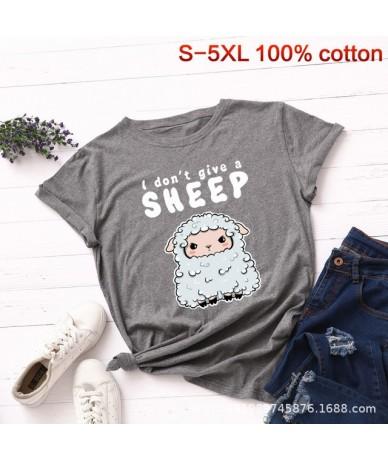 Plus Size S-5XL New Sheep Print T Shirt Women 100% Cotton O Neck Short Sleeve Summer T-Shirt Tops Casual Tshirt Women Shirts...