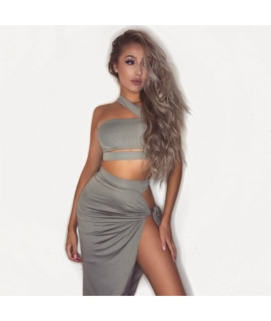 2 Piece Set Women Skirt Top Sexy Two Piece Set Skirt And Top For Summer Party Club Wear Split Clothing Conjunto Feminino - G...