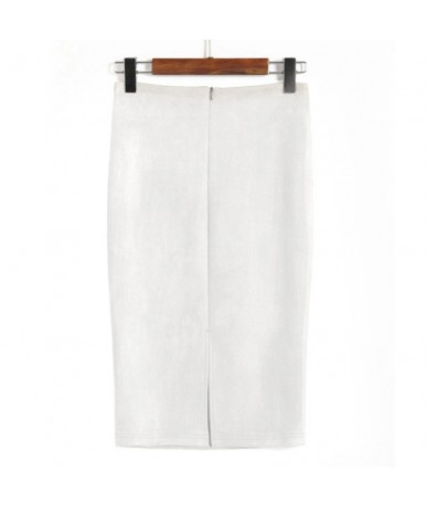 Elegant Women Skirts Spring Sexy Faux Suede Female High Waist Thicken Stretchy Bodycon Knee Length 2019 Pencil Skirt - White...