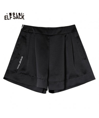 Solid Letter Print Women Casual Shorts 2019 Summer Fashion Hot Short Female Bottoms Gold Straight Mid Waist Shorts - Black -...