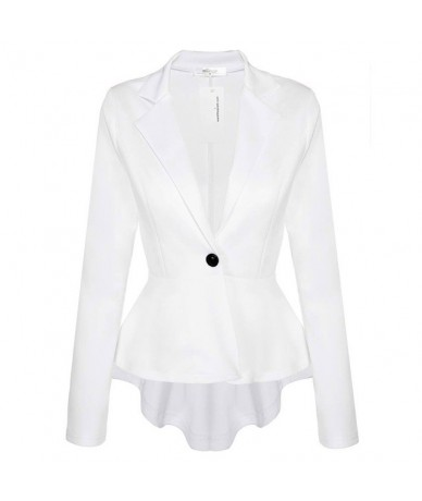 Irregular Dovetail blazer jacket Short Back Temperament One-Button Slim Small Suit - White - 463078866039-3