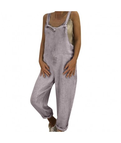 Womens Jumpsuit Long Playsuit Dungarees Harem Pants Ladies Fashion Holiday Summer Overall Jumpsuit Salopette Femme T - Gray ...