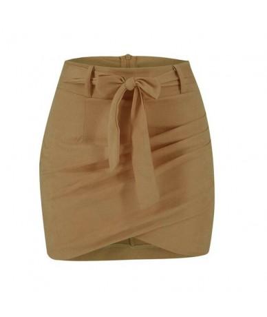 Asymmetric belt suede skirts women Bodycon leather Spring skirts 2019 New Sexy streetwear High waist Bandage short skirts fe...