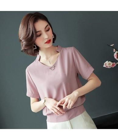 Summer chiffon women's clothing Fashion 2019 women shirts blouses short sleeve plus size 4XL v-neck women's tops blusas D632...