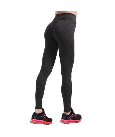 Women Sporting Push Up Leggings Fashion High Waist Fitness Leggins Spandex Stretch Leggings Women Pants - Black Gray - 4W394...