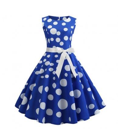 Polka Dot Print Women Summer Dress Sleeveless Vintage Swing Dress 2019 Casual Office Ladies A Line Elegant Work Dress Plus S...