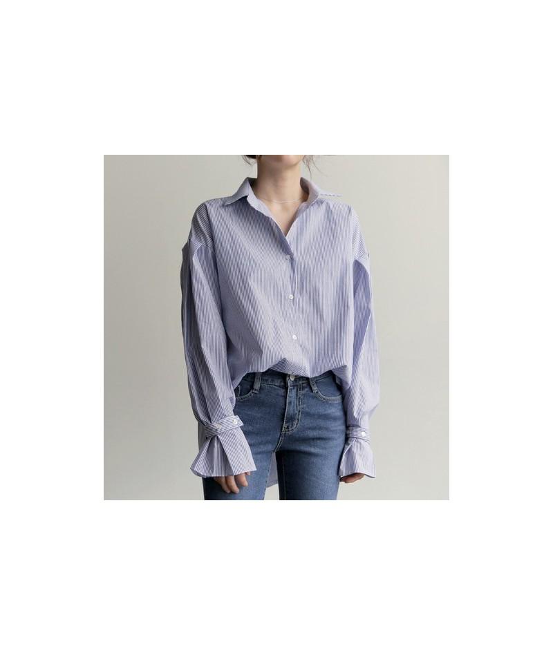 Ladies fashion striped custom color shirt pleated trumpet sleeves loose long female high quality shirt large size shirt GX31...