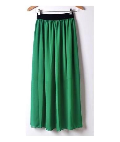 Summer High Wasit Candy Colors Chiffon Skirts Women Casual Slim Solid Pleated Long Skirts Faldas Saias Femininas Jupe - gree...